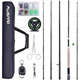 PLUSINNO Fly Fishing Rod and Reel Combo, 4 Piece Lightweight Ultra-Portable Graphite Fly Fishing Rod 5wt 8' Complete Starter Package with Carrier Bag