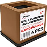 iPrimio Bed and Furniture Square Risers - Brown 4 Pack 3 INCH Size - Wont Crack & Scratch Floors - Heavy Duty Rubber Bottom - Patent Pending - Great for Wood and Carpet Surface
