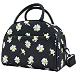 HIBALA Neoprene Stylish Tote Lunch Bag Thermal Lunch Box for Women Family Work Outdoor Travel Picnic-Keeping Food Cold/Warm-with Zipper and Shoulder Strap (Chrysanthemum)