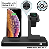 ONE Dock (APPLE CERTIFIED) Power Station Dock, Stand & Built-in Lightning Connector for Apple Watch Smart Watch (Series 4,3,2,1 Nike+), iPhone, iPad & iPod (Black)