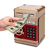 Asoner Cartoon Piggy Bank, Electronic ATM Password Cash Coin Can Auto Scroll Paper Money Saving Box Gift for Kids (Gold)