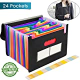 24 Pockets Expanding File Folder with Cover Accordion File Organizer Portable Rainbow Large Capacity Document Holder A4 Size Letter Paper for Business School Home