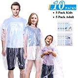 Ginmic Ponchos Family Pack - 10 Pack Rain Ponchos for Kids and Adults, Clear Ponchos, Disposable Emergency Rain Ponchos for Family Travel, Camping, Hiking, Fishing, Backpacking