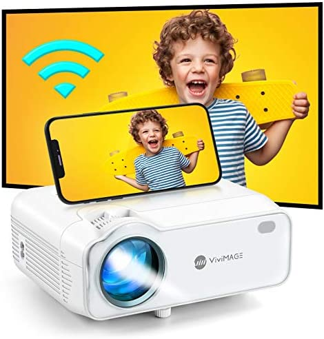 VIVIMAGE Explore 5 Mini Projector WiFi, 1080P Support Portable Projector for Outdoor Movies with Synchronize Smartphone Screen, Compatible with TV Stick, HDMI, PS4, Include Projector Screen