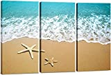 Canvas Wall Art Decor - 12x24 3 Piece Set (Total 24x36 inch) - Sandy Beach & Sea - Decorative & Modern Multi Panel Split Canvas Prints for Dining & Living Room, Kitchen, Bathroom, Bedroom & Office