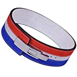 ARD CHAMPS 10MM Weight Power Lifting Leather Lever Pro Belt Gym Training Red,White & Blue (Medium)