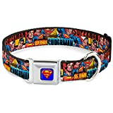 "Buckle-Down Seatbelt Buckle Dog Collar - SUPERMAN Action Blocks Red/Blue - 1"" Wide - Fits 11-17"" Neck - Medium"
