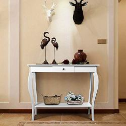 ChooChoo Entryway Console Table with Drawer, Behind Sofa Tables Narrow, Hallway Table for Entryway Easy Assembly – White