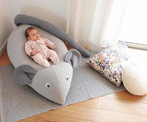 Huge Mouse Beanbag pillow, baby beanbag, floor pillow, kids beanbag pouf- Grey & navy