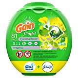 Gain flings! Liquid Laundry Detergent Pacs, Original, 81 Count - Packaging May Vary