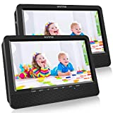 WONNIE 10.5 Portable Dual DVD Players, 1024x800 HD LCD TFT, USB/SD/MMC Card Readers, Built-in 5 Hours Rechargeable Battery, Stereo Sound, Regions Free, AV Out & in