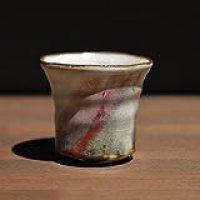 Japanese traditional ceramic Hagi ware. Shinsha red guinomi sake cup with wooden box made by Keita Yamato.