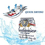 Boys Teens Swim Trunks Budweiser Beer Summer Cool Quick Dry Board Shorts Bathing Suit L(14-16) White