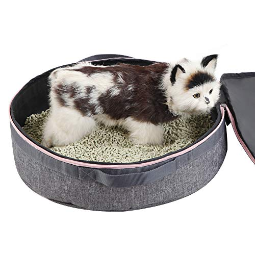 Petsfit 3.9''H x 15.3''W x 15.3''L Portable Travel Cat Litter Pan Foldable, Light Weight and Easy Cleaning