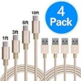 Asstar USB Type C Cable, 4 Pack 1ft 3ft 6ft 10ft Braided USB Type A to C Charger Cable for Samsung Galaxy Note 8, S8 Plus, ZTE Zmax Pro Z981, Google Pixel, Nexus 6P 5X, Nintendo Switch, LG G6 V (Gold)