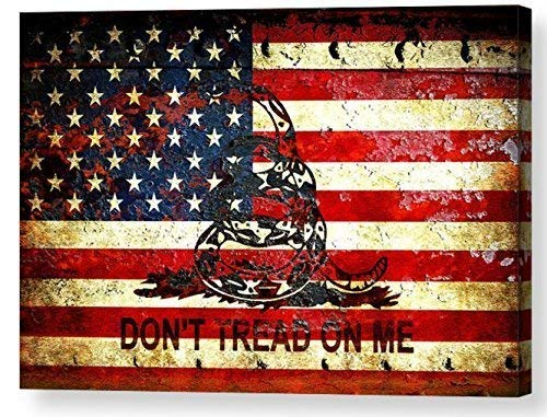 Amazon Com Gadsden And American Flag Themed Artwork Don T Tread On Me American Flag Viper On Rusted Metal Door Print On Archival Paper Metal Sheet Or Stretched Canvas Handmade