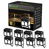 InSassy Solar Wall Lights Outdoor - Wireless Led Waterproof Security Lighting for Deck, Fence, Patio, Front Door, Wall, Stair, Landscape, Yard and Driveway Path - Warm/Color Changing - 8 Pack