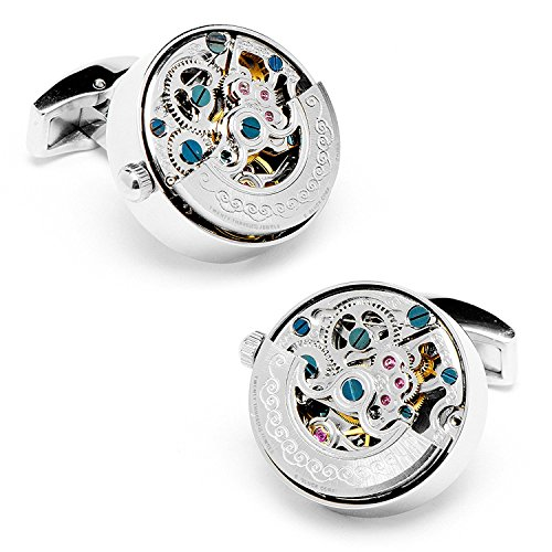 Real Working Watch Movements Cufflinks Functioning Steampunk Cuff-links with Velvet Gift Box (Silver Engraved_)