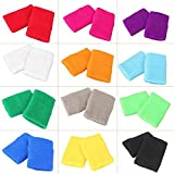 MALLOFUSA 12 Pairs Colorful Wrist Sweatbands Athletic Cotton Terry Cloth Wristbands for Gym Sports