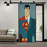 WellKin 3D Door Wall Creative Superman Inspired Sticker Self-Adhesive Waterproof Wallpaper DIY Removable Home Bedroom Decor Poster Decoration 30x79