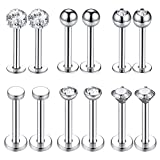 BodyJ4You 16PC Labret Tragus Nose Bone Stud Rings Set 16G Surgical Steel Flat Back Retainer Jewelry