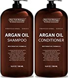 New York Biology Moroccan Argan Oil Shampoo and Conditioner - Moisturizing and Volumizing for All Hair Types and Color Treated Hair, Men and Women- with Keratin, Paraben and Sulfate Free - Huge 16 oz