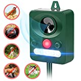 JIA LE Ultrasonic Animal Repeller, Solar Powered Waterproof Outdoor with Ultrasonic Sound, Motion Sensor and Flashing Light for Cats, Dogs, Squirrels, Moles, Rats