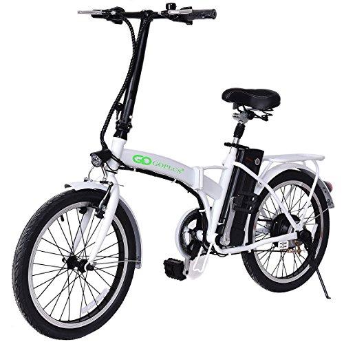 Goplus 20' 250W Folding Electric Bike Sport Mountain Bicycle 36V Lithium Battery (White)