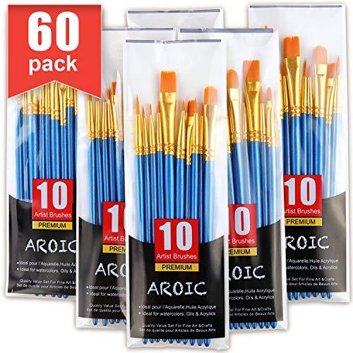 Acrylic Paint Brush Set, 6 Packs / 60 pcs Nylon Hair Brushes for All Purpose Oil Watercolor Painting Artist Professional Kits