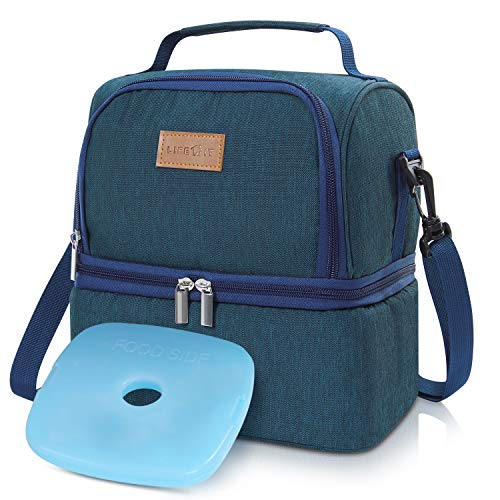 Lifewit Insulated Lunch Box for Adults/Men/Women/Kids, Thermal Lunch Bag, Cool Bento Bag for Office/School/Picnic, 7L, Dual Compartment, Blue