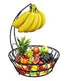 TQVAI Wire Fruit Basket with Banana Hanger, Black
