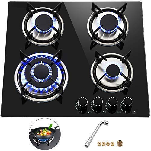 Happybuy 23x20 inches Built in Gas Cooktop 4 Burners Gas Stove Cooktop Tempered Glass Cooktop Gas Hob With Liquid Propane Conversion Kit Thermocouple Protection and Easy To Clean