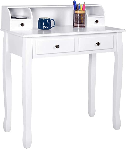 Amazon Com Giantex Writing Desk With 4 Drawers Removable Floating Organizer 2 Tier Mission Home Computer Vanity Desk For Apartment Small Space White Kitchen Dining