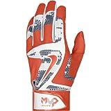Nike GB0401-102 MVP Elite Batting Glove - White/Orange - Large GB0401-102L