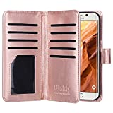 ULAK Galaxy S6 Edge Case, 9 Cards Slot Slim PU Leather Stand Wallet Flip Protector Cover with ID & Credit Card Pockets for Samsung Galaxy S6 Edge (Rose Gold) Will not Fit S6 Edge Plus