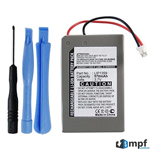 MPF Products 570mAh LIP1359 Battery Replacement Compatible with Sony Playstation 3 PS3 Dualshock 3 Wireless Controller CECHZC2E, CECHZC2U with Installation Tools