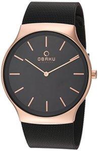 Obaku Men's Analog-Quartz Watch with Stainless-Steel Strap, Black, 30 (Model: V178GXVBMB