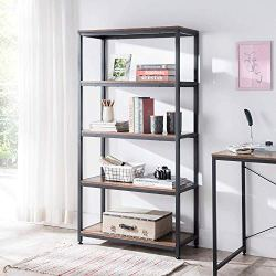 AMOAK Industrial Bookshelf and Bookcase 5 Tier, Wood and Metal Bookshelves Storage Shelves for Home Office, Sturdy Easy…