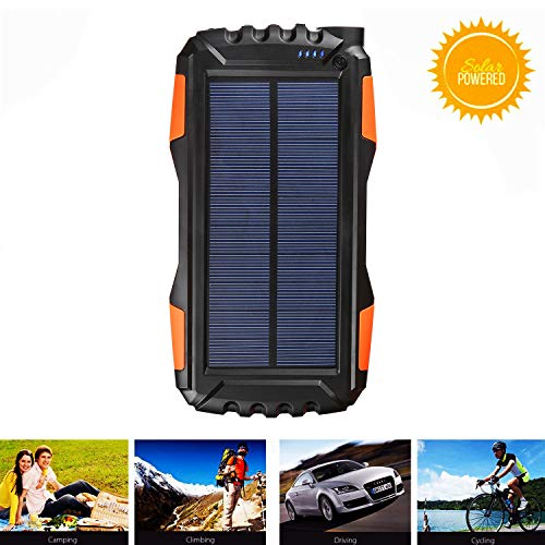 Kiizon Solar Phone Charger 25000mAh Outdoor Portable Chargers with Dual 2.1A USB Outport,Solar Power Bank External Battery Powerd Pack with Flashlight for iPhone,Samsung,Camping-Shock,Dust&Waterproof