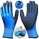 Waterproof Work Gloves 2 Pairs, Double Latex Coated Grip and Comfortable, Improved Dexterity for Outdoor Garden Watering Car Cleaning Multipurpose, Size for Men L, XL Hands -2 Pack