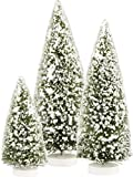 PBK Christmas Decor - Snowy Sisal Bristle Evergreen Tree 3pc. Set