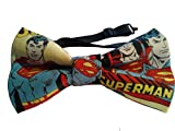 "Superman Bow Tie Cotton Adult 4.5"" x 2.5"" Adjustable to 18 Inches"
