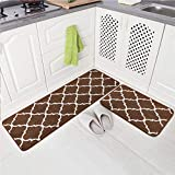 Carvapet 2 Pieces Microfiber Moroccan Trellis Non-Slip Soft Kitchen Mat Bath Rug Doormat Runner Carpet Set