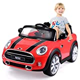 Costzon Ride On Car, Licensed BMW Mini Cooper Electric Car, 12V Battery Powered Kids Vehicle with Manual/Parental Remote Control Modes, MP3 Port, Headlights, Music, High/Slow Speeds (Red)