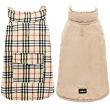 SCENEREAL Dog Winter Clothes Reversible Jacket Warm Coat Windproof Waterproof Plaid Vest Christmas Suit for Small Medium Large Dogs Pets Cold Weather Wearing, Beige M