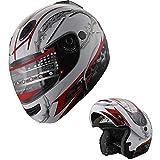Motorcycle Helmet Adult DOT Modular Flip up Full Face Sports Bike Helmet (210 White/Red, S)