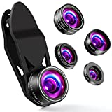 ZPTONE Cell Phone Camera Lens 5 in 1 Clip On Camera Lens Kit 198°Fisheye Lens + 0.63X Wide Angle Lens + 15X Macro Lens + 2X Telephoto Lens + CPL Lens Cell Phone Lens for Most iPhone, Android Phones