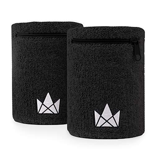 The Friendly Swede Zipper Sweatband Wristband Pocket, Wrist/Ankle Wallet for Jogging, Sports, Walking (2 Pack)