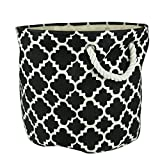"""DII Collapsible Polyester Storage Basket or Bin with Durable Cotton Handles, Home Organizer Solution for Office, Bedroom, Closet, Toys, Laundry (Medium Round - 12x15""""), Black Lattice"""