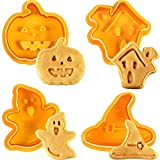 4 Pieces Halloween Cookie Cutters Set - Fondant Stamper, Pastry Cutter, Haunted House, Witch Hat, Ghost and Pumpkin Stamper, Direct Embossing, Spring-loaded Handle Cutter Set